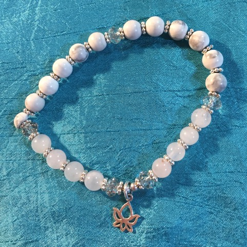 Howlite and Rose Quartz Mala Bracelet