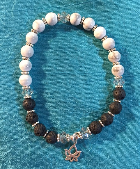 Howlite and Lava Mala Bracelet